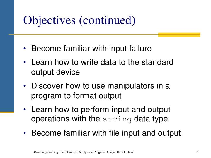 Objectives continued