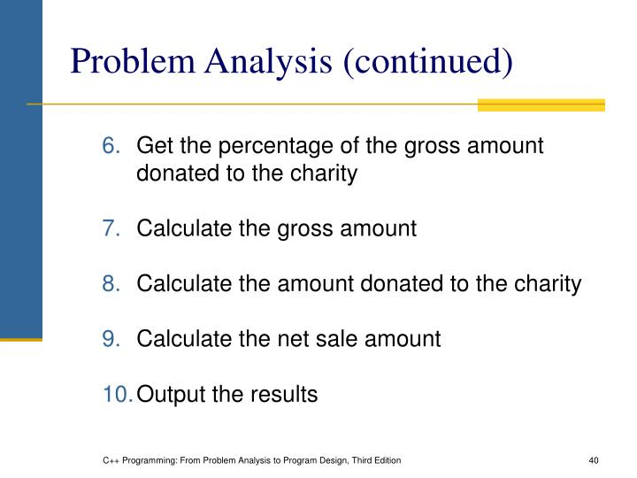 Problem Analysis (continued)