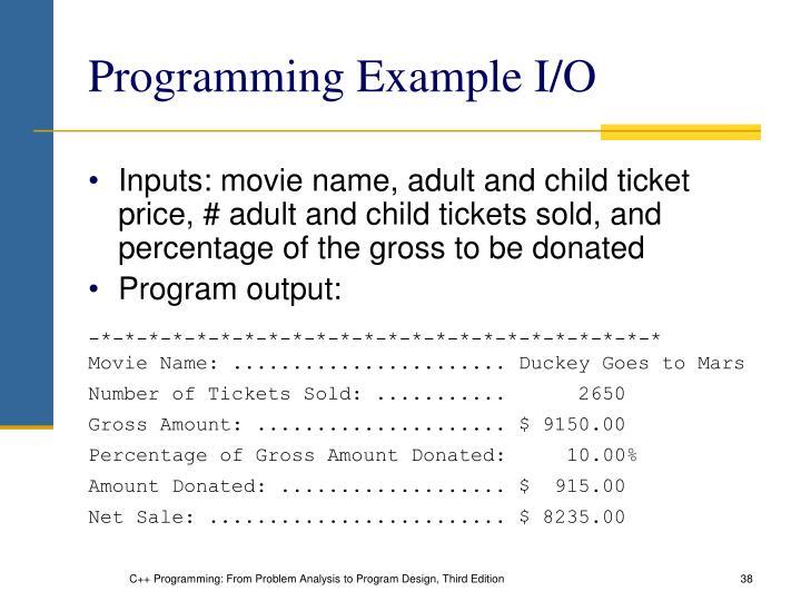 Programming Example I/O