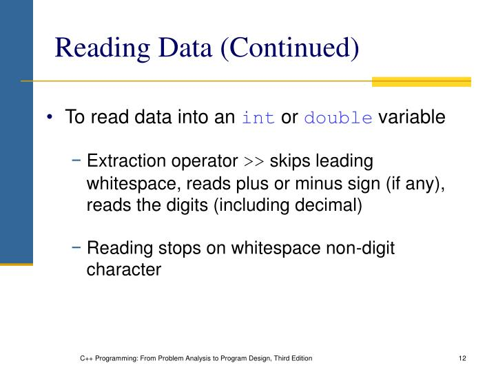 Reading Data (Continued)