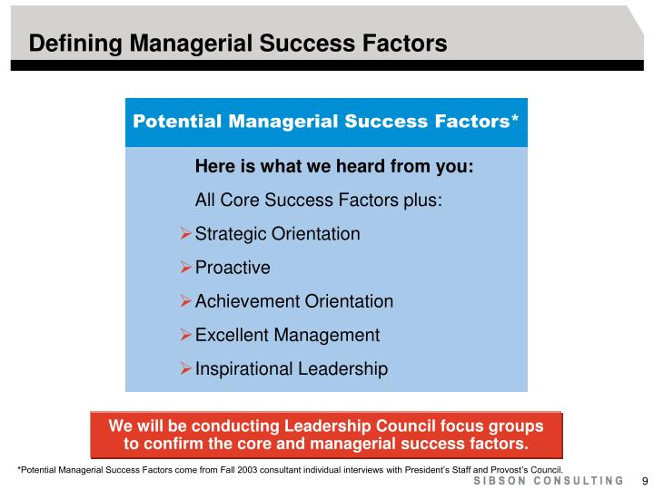 Defining Managerial Success Factors