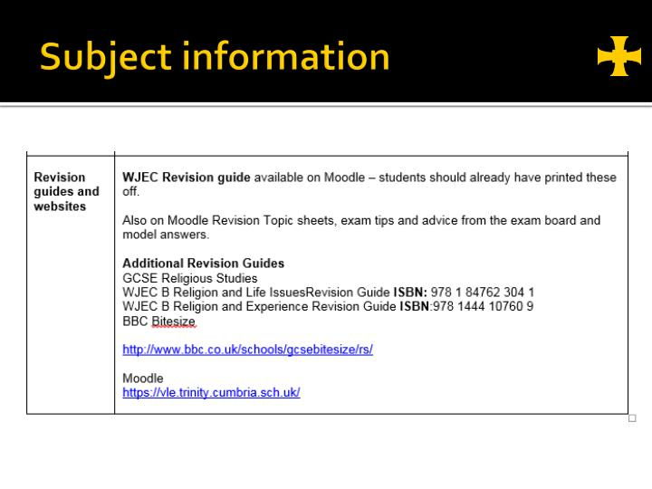 Subject information
