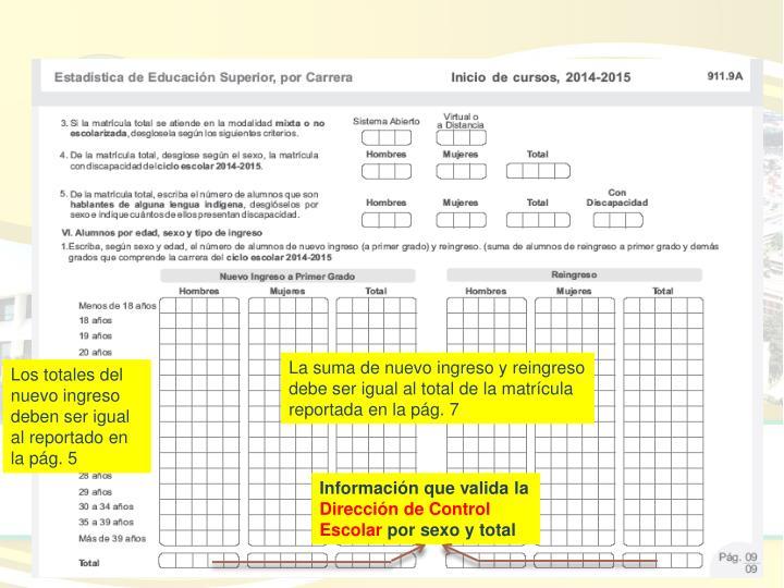 La suma de nuevo ingreso y reingreso debe ser igual al total de la matrícula reportada en la pág. 7