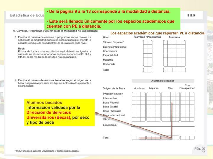 De la página 9 a la 13 corresponde a la modalidad a distancia.