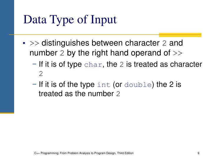 Data Type of Input