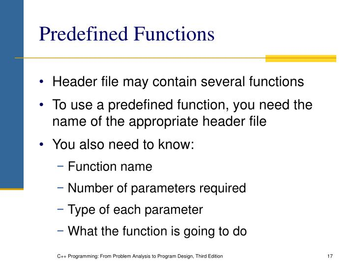 Predefined Functions
