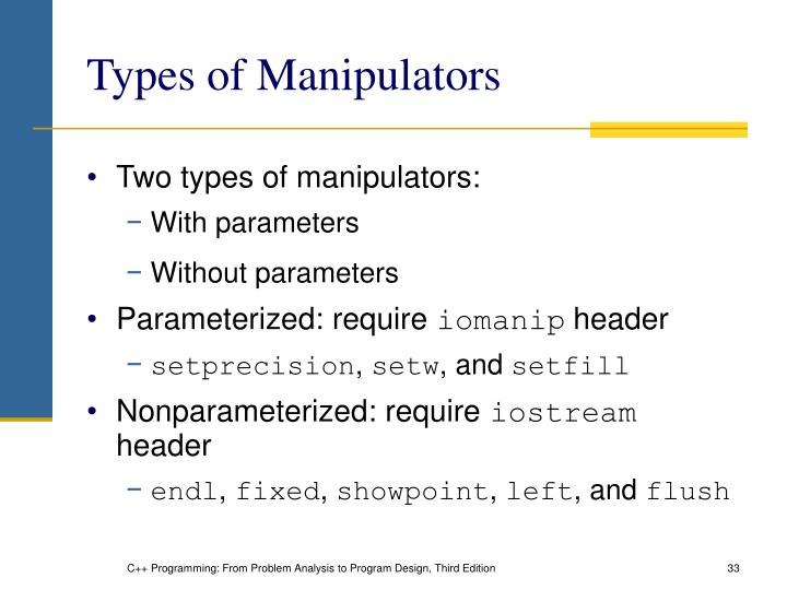 Types of Manipulators