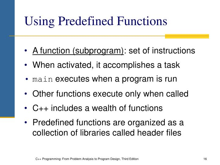 Using Predefined Functions