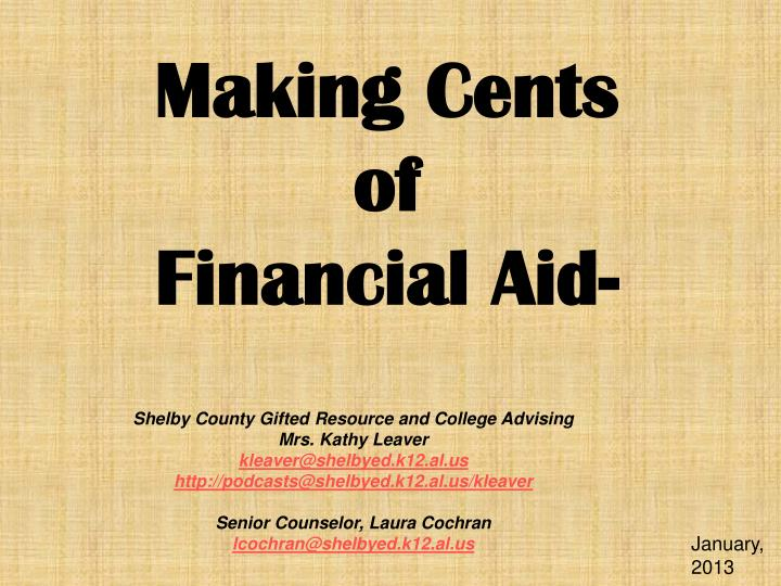 Making cents of financial aid