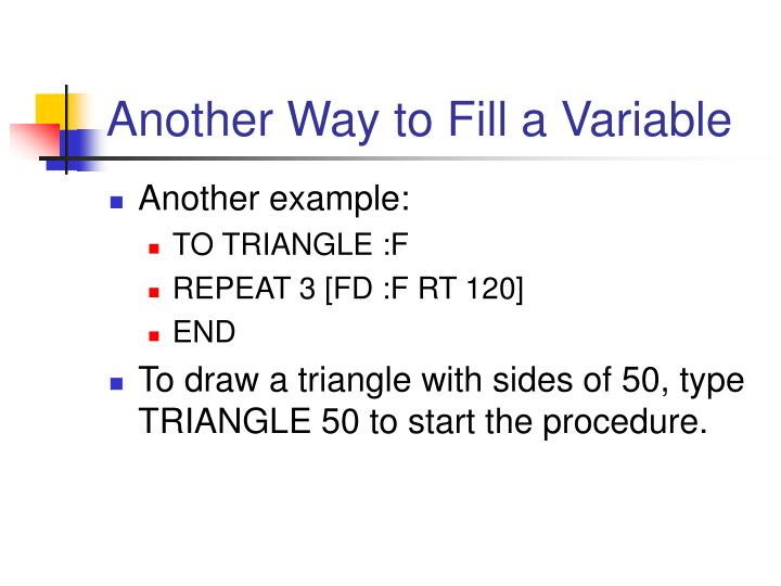 Another Way to Fill a Variable