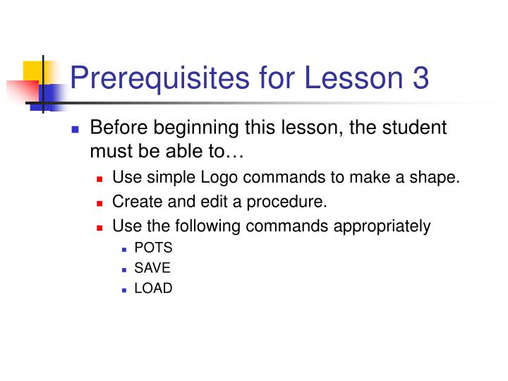 Prerequisites for lesson 3