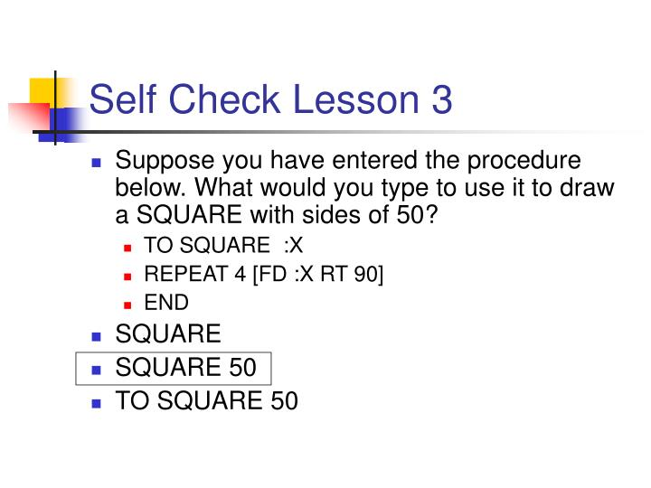 Self Check Lesson 3