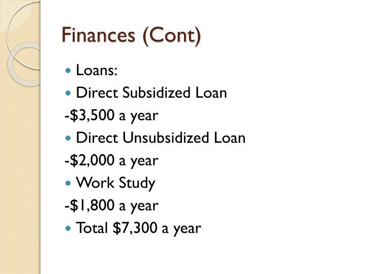 Finances (Cont)