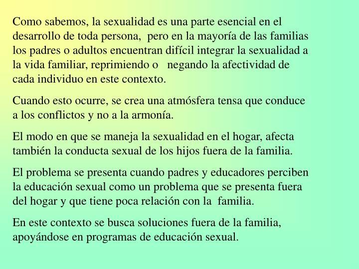 Como sabemos, la sexualidad es una parte esencial en el desarrollo de toda persona,  pero en la mayoría de las familias los padres o adultos encuentran difícil integrar la sexualidad a la vida familiar, reprimiendo o   negando la afectividad de cada individuo en este contexto.