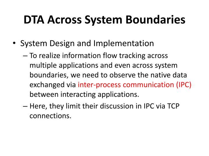 DTA Across System Boundaries