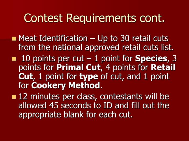 Contest Requirements cont.