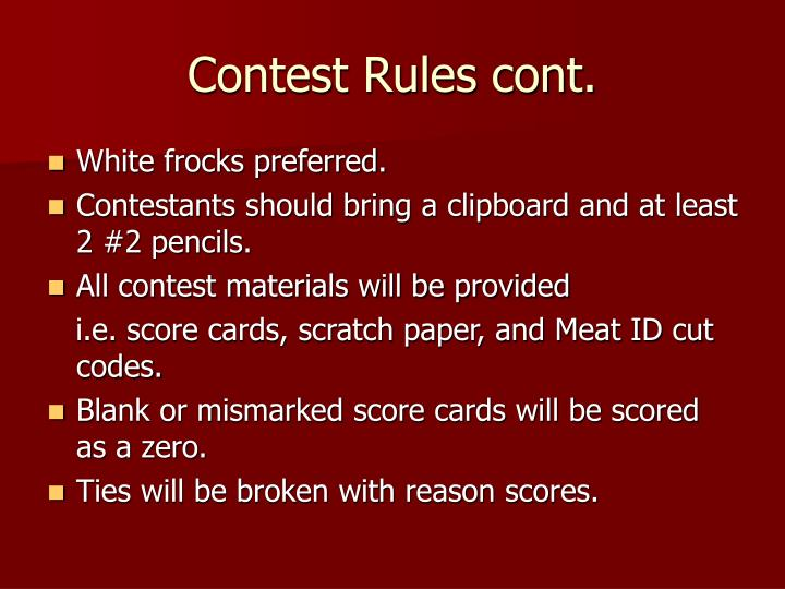 Contest Rules cont.