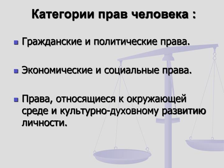 Категории прав человека :