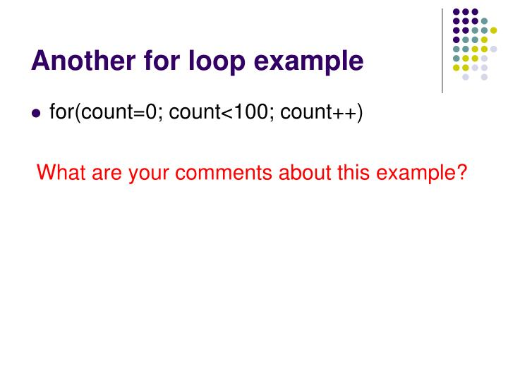 Another for loop example