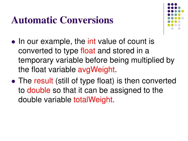 Automatic Conversions