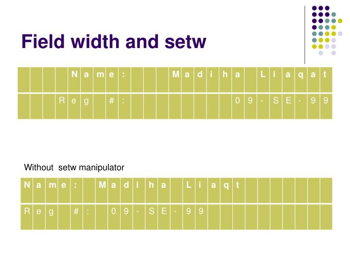Field width and setw