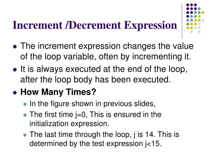 Increment /Decrement Expression