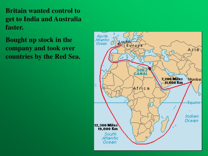 Britain wanted control to get to India and Australia faster.