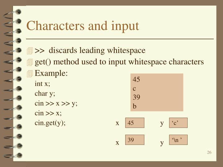 Characters and input