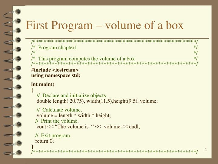 First program volume of a box