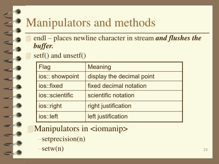 Manipulators and methods