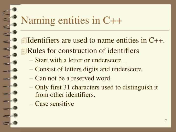 Naming entities in C++