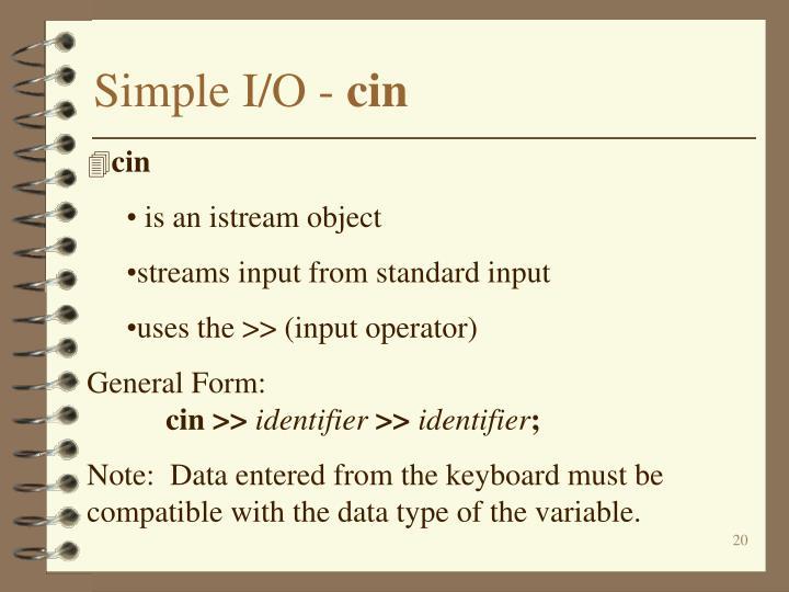 Simple I/O -