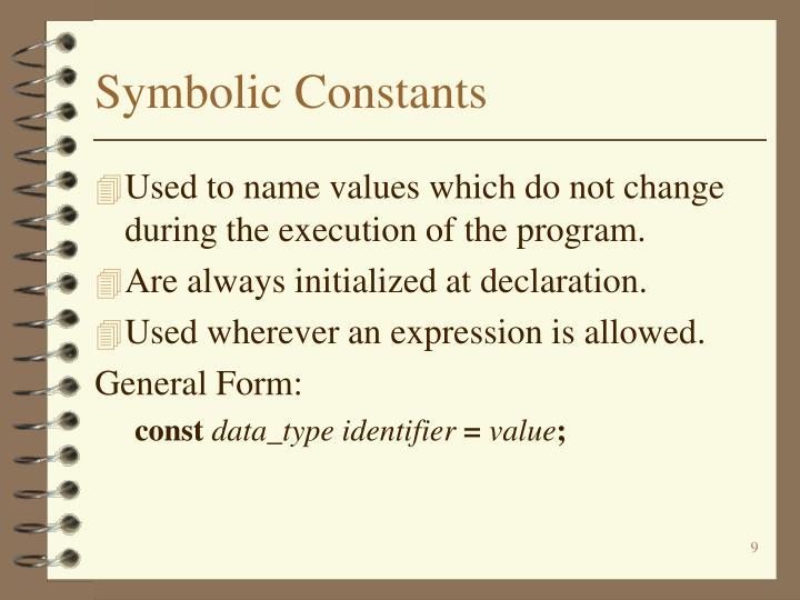 Symbolic Constants