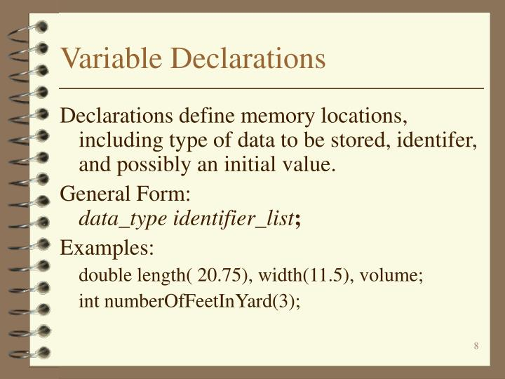Variable Declarations
