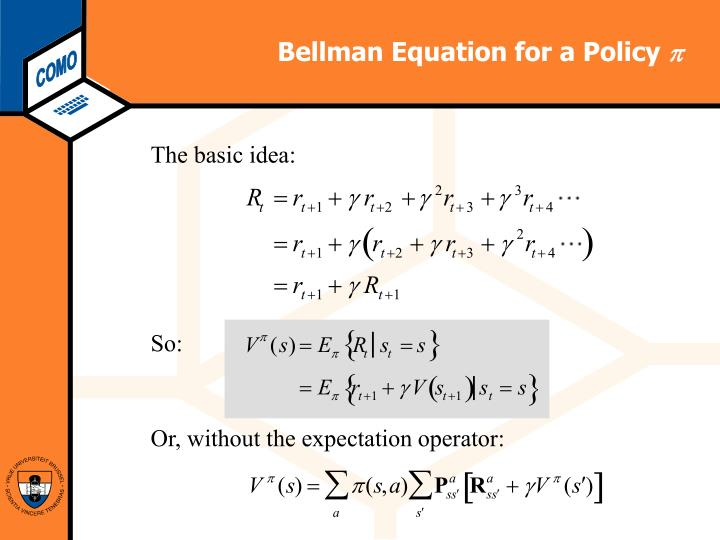 Bellman Equation for a Policy