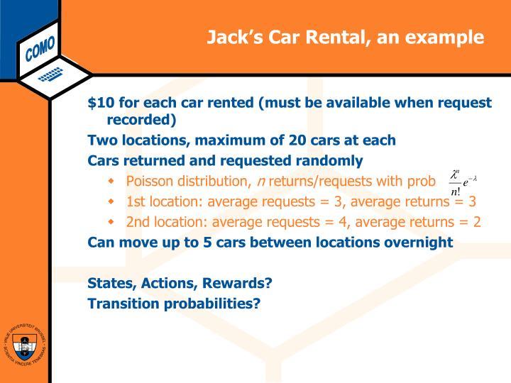 Jack's Car Rental, an example