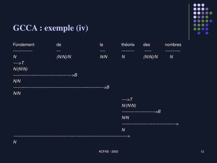GCCA : exemple (iv)