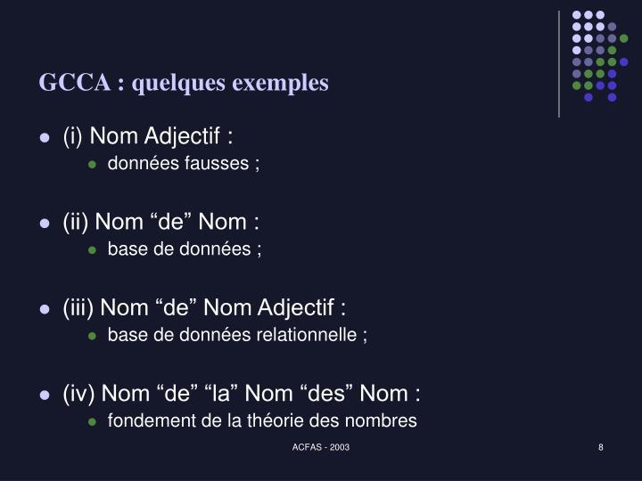 GCCA : quelques exemples
