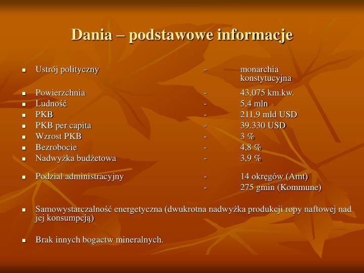 Dania – podstawowe informacje