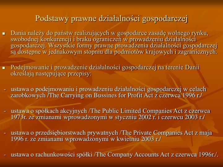 Podstawy prawne działalności gospodarczej