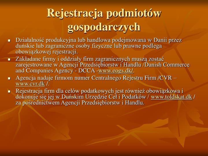 Rejestracja podmiotów gospodarczych