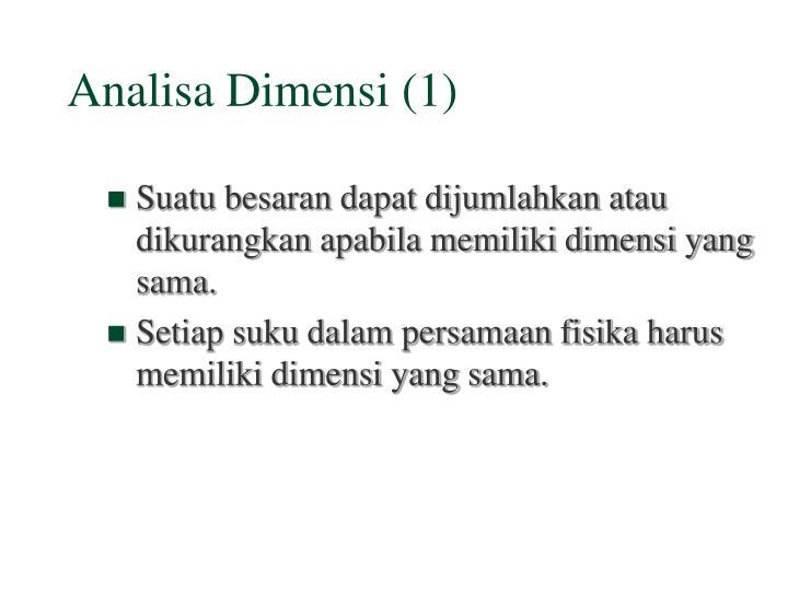 Analisa Dimensi (1)