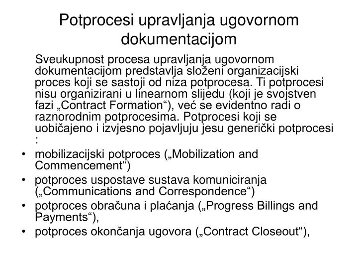 Potprocesi upravljanja ugovornom dokumentacijom