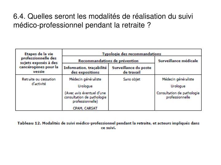 6.4. Quelles seront les modalits de ralisation du suivi mdico-professionnel pendant la retraite ?