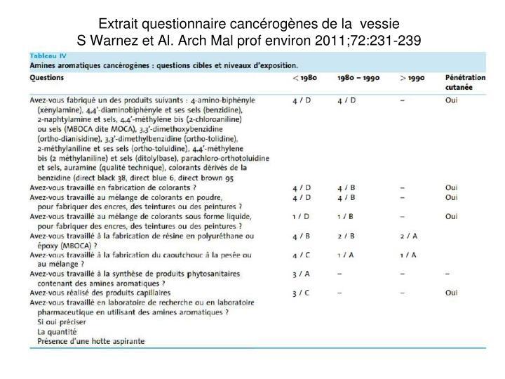 Extrait questionnaire cancrognes de la  vessie