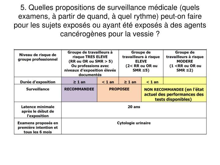5. Quelles propositions de surveillance mdicale (quels examens,  partir de quand,  quel rythme) peut-on faire pour les sujets exposs ou ayant t exposs  des agents cancrognes pour la vessie ?