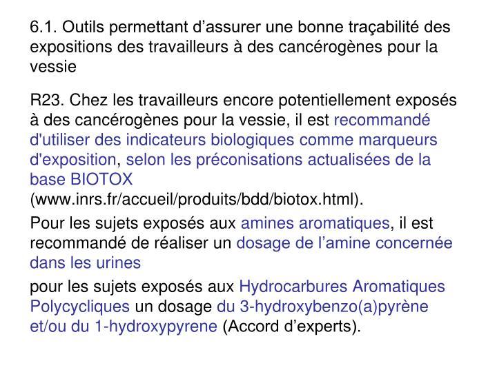 6.1. Outils permettant dassurer une bonne traabilit des expositions des travailleurs  des cancrognes pour la vessie