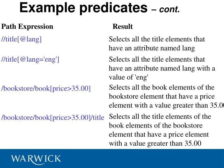 Example predicates