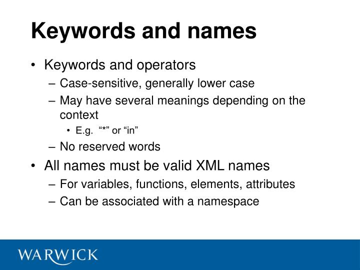 Keywords and names