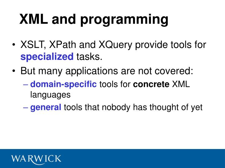 XML and programming